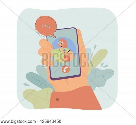 Hand Of Father Holding Phone With Mother And Son On Screen. Husband On Video Call With Wife Flat Vec