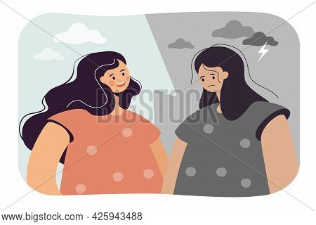 Contrast Of Happy And Depressed Woman. Flat Vector Illustration. Split Portrait Of Girl With Bipolar