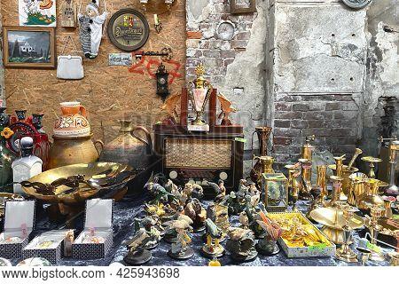 Lviv, Ukraine - May 16, 2021 : Garage Sale In Lem Station, Tlum And Kram. Hipster Vintage Goods On F