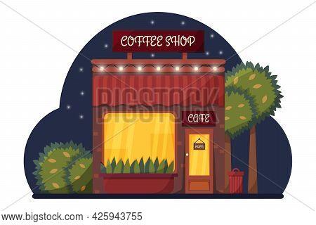 Cafe In The Night Background Illustration. Cozy Night Street Cafe Scene Flat Illustration Evening Ci