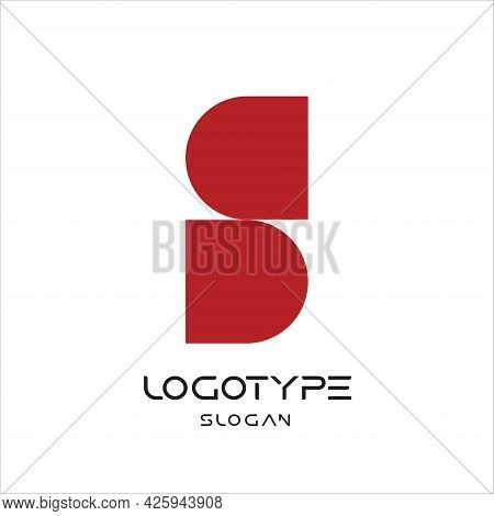 Letter S Logo, Infinity Sign, Yin Yang Abstract Symbol, Geometric Monumental Label. Simple Embedded