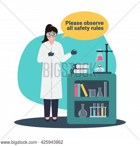 School, College, Science Chemical Laboratory Safety Concept With Young Woman In White Robe And Chemi