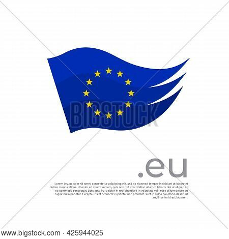 European Union Flag. Colored Stripes Eu Flag On A White Background. Vector Stylized Poster, Banner,