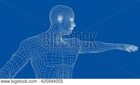 Virtual Wireframe A Man Holds His Hand In Front Of Him And Looks Ahead. Vector Rendering Of 3d. Wire