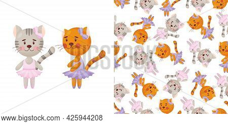 Vector Seamless Pattern In Child Style With A Cat Ballerina.