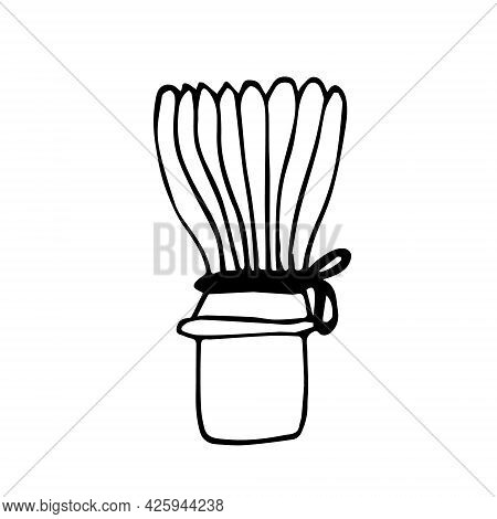 Doodle Vector Whisk For Matcha Tea.white Background