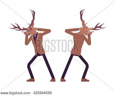 Deer Man, Elegant Mister Moose, Animal Stylish Human Butting Head. Dressed Up Gentleman Having Large