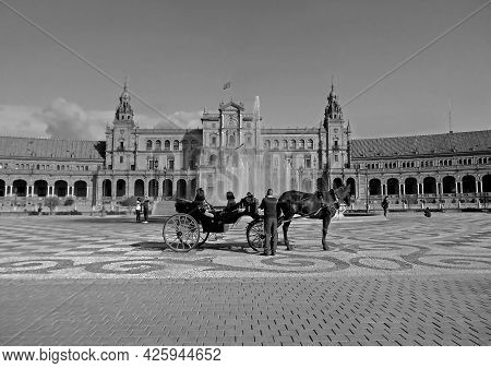 Monochrome Image Of Plaza De Espana, The Iconic Gorgeous Landmark Of Seville, Spain, 24th Nov 2017