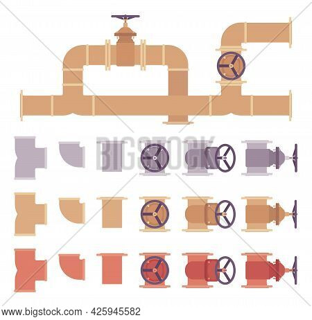 Piping And Plumbing Fittings, Tube Joints, Pipe Sections Set. Grey, Brown, Copper Pipeline System. V