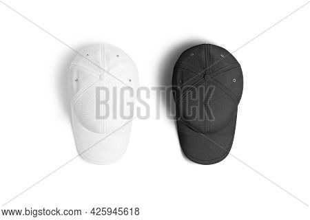 Blank Black And White Baseball Cap Mockup, Top View, 3d Rendering. Empty Accessory Head Wear With Vi