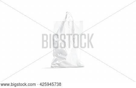Blank White Full Loop Handle Plastic Bag Mockup, Half-turned View, 3d Rendering. Empty Crumpled Poly
