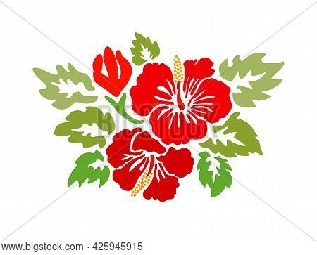 Hibiscus Red Flowers Tropical Exotic Vector Tattoo Silhouette Drawing Illustration.hawaiian Floral S