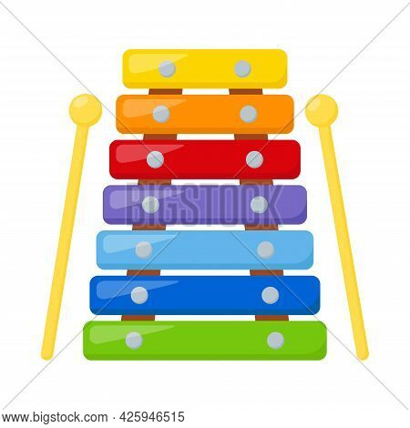 Kid Toy Xylophone On White Background, Vector Illustration