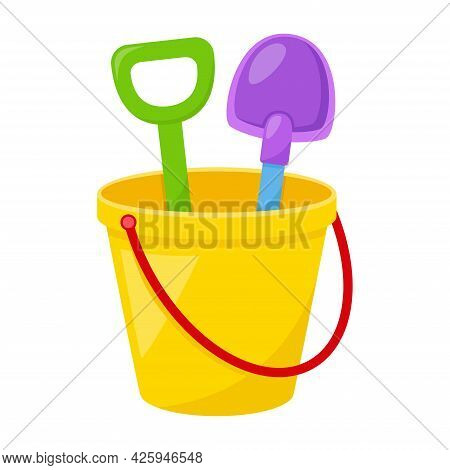 Kid Toy Bucket With Spatula On White Background, Vector Illustration