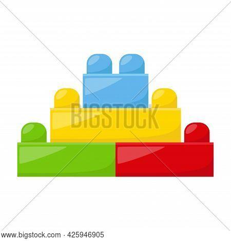 Kid Toy Building Kit On White Background, Vector Illustration