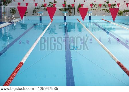 An Empty Sports Pool With A Red Dividing Path. Blue Water In The Swimming Pool.