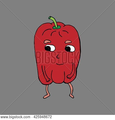 Funny Cartoon Character Sweet Pepper. Vegetables And Fruits. Vector Illustration. Isolated. Doodles.