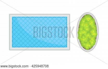 Landscape And Garden Design Elements With Pool Or Pond With Blue Water Above View Vector Set