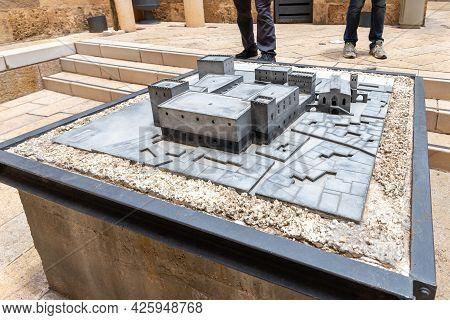 Acre, Israel, June 26, 2021 : Crusader Fortress Model In The Crusader Fortress Of The Old City Of Ac
