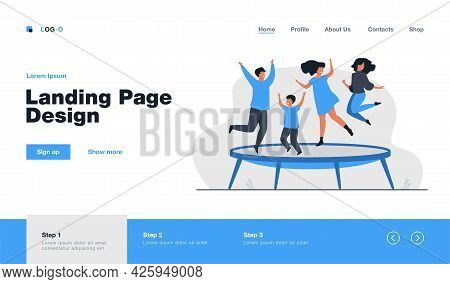 Happy Friends Jumping On Trampoline Flat Vector Illustration. Cartoon People Having Fun And Bouncing