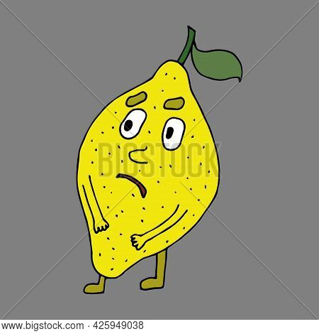 Lemon. Cute And Funny Character In Cartoon Style. Fruits. Healthy Eating. Comics. Vector Illustratio