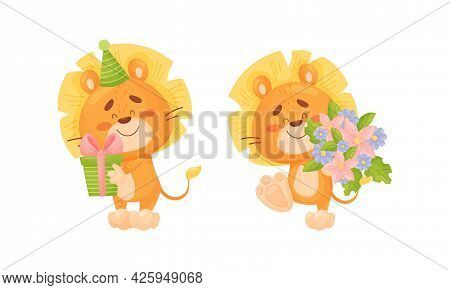 Cartoon Lion Cub Playful Character With Thick Mane Holding Gift Box And Bunch Of Flowers Vector Set