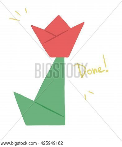 Step-by-step Instruction For Making A Festive Origami Flower Of Paper. Gift For Mom, Grandmother Or