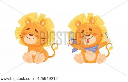 Cartoon Lion Cub Playful Character With Thick Mane Sitting And Ready To Eat Vector Set