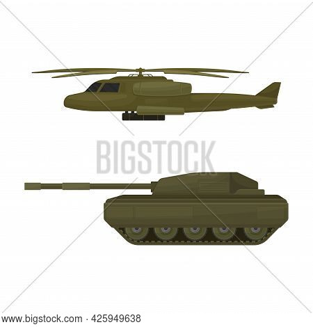 Armoured Tank And Aircraft As Military Machine And Armored Vehicle For Warfare Vector Set