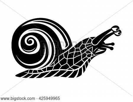 Illustration With Black Snail Icon On White Background.