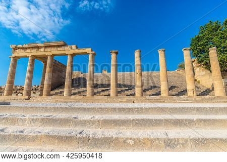 Ancient Pillars Of The Acropolis Of Lindos On The Rhodes Island.