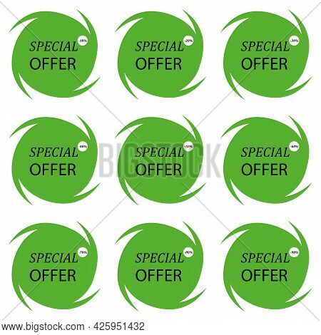 Set Percentage Discount Banners Icons.10,20,30,40,50,60,70,80,90 Percent Sale Vector Illustration Ep