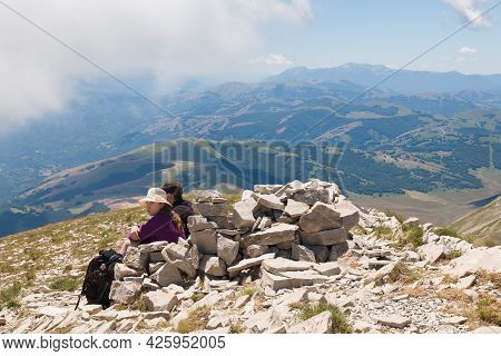 Monte Vettore - July 5, 2021: Panoramic View Of The Summit Of Monte Vettore In The National Park Of
