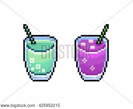 Pixel Cocktails,  Colorful 8 Bit Retro Summer Drinks