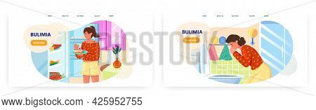 Bulimia Landing Page Design, Website Banner Vector Template Set. Woman Suffering From Psychological