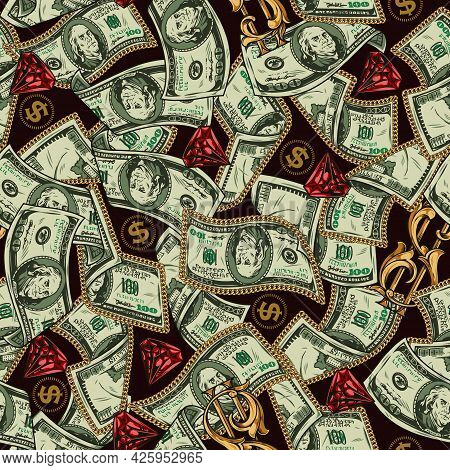 Money Vintage Colorful Seamless Pattern With One Hundred Us Dollar Banknotes Red Gems And Elegant Go