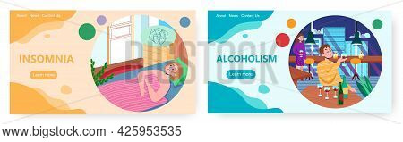 Insomnia, Alcoholism Landing Page Design, Website Banner Vector Templates. Sleep Disorder, Alcohol A