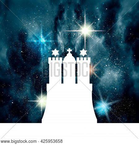Hamburg Seaport Emblem And Universe With Stars