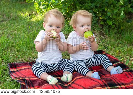 Twin Girls In The City Park Sitting On A Blanket Eating Apples.