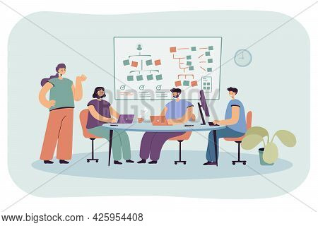 Team Of Programmers Working On Software. Flat Vector Illustration. Young People Listening To Lesson,