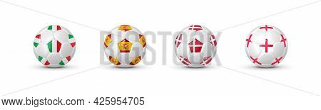 Soccer Balls With Flags Of 4 Countries Of The Best National Football Teams 2020 - 2021 Based On Resu