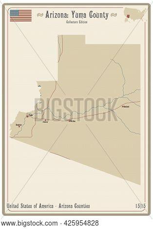 Map On An Old Playing Card Of Yuma County In Arizona, Usa.
