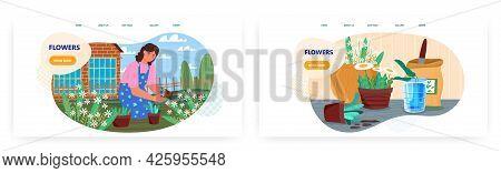 Flower Growing Landing Page Design, Website Banner Vector Template Set. Gardener Planting Garden Flo