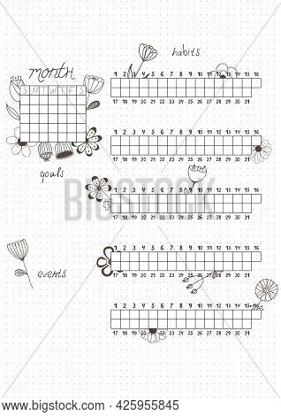 Printable A4 Paper Sheet, Bullet Journal Page With Hand Drawn Flowers And Month Planner Blank And To