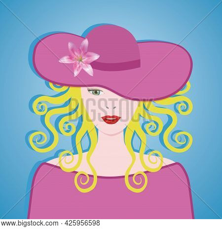 Blond Woman With Big Curly Hair And Big Pink Sun Hat. Vector Illustration. Eps10.