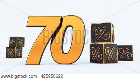 Gold Seventy 70 Percent Number With Black Cubes  Percentages Isolated On White Background. 3d Render