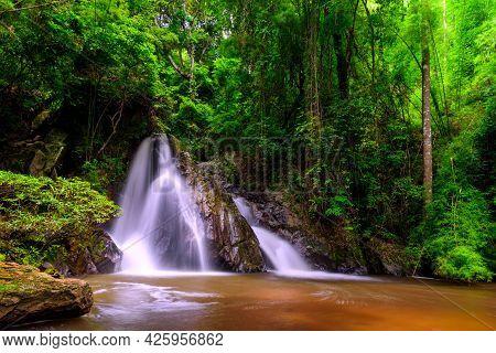 Leva Or Rak Jung Na Mon Waterfall At Ban Na Mon In Wiang Haeng District, Chiang Mai, Thailand.