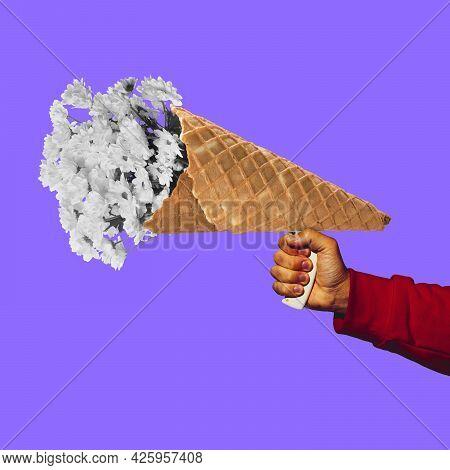 Human Hand With Megaphone Like Icecream Cornet. Contemporary Art Collage, Modern Artwork. Concept Of