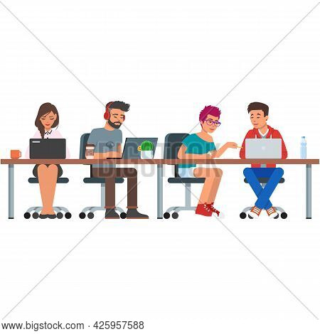 People Coworking Office Center Vector Illustration On White