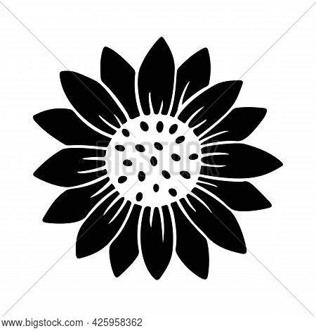 Sunflower Simple Icon. Flower Silhouette Vector Illustration. Sunflower Graphic Logo, Hand Drawn Ico